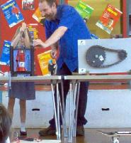 Image: Richard Ellam performing Simple Machines show